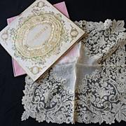 SOLD Exquisite antique gossamer Brussels point de gaze lace handkerchief