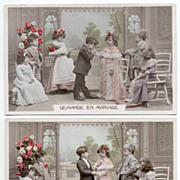 Wedding Romance Series 8 Life in Miniature French Postcards circa 1910