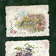 SOLD 3 French Victorian Die-Cuts Embossed Birds Flowers Set 1