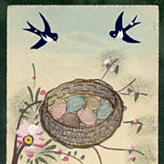 Bird's Nest Embroidered Applique French EASTER postcard