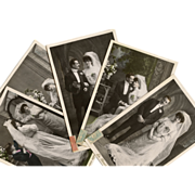 Wedding Series 5 French Black and White Real Photo Postcards by Arjalew of Paris