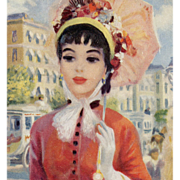 Circa 1950s John Strevens Lady in Red with Parasol 1870s Paris