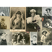 Bon Marche Lot of 10 Antique Postcards of Women, Stage Stars and Illustrations