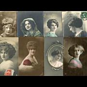 Bon Marche Lot of 8 Postcards of Women's Faces Edwardian to Art Deco