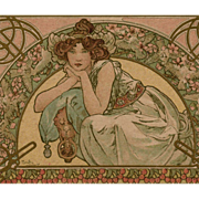 SOLD Original Alphonse Mucha Lithograph French Postcard Art Nouveau Cherry Blossom