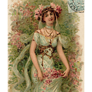 SALE Art Nouveau French Postcard of Bejeweled Beauty Gathering Flowers Postmarked 1905