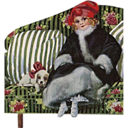 Art Deco French English Postcard of Girl on Striped Green Couch with Puppy