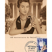 1954 French Postcard First Day Issue Honors Jewelry and Silversmithing