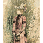 SOLD Victorian Fashion Page of Lady in Pink from 1890-1891 Paris Mode Magazine