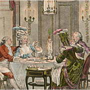 SOLD Antique French Lithograph Postcard from Polish Count's Collection: Le Souper Fin