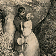 No. 1 Bibliophile Artist Signed Postcard from Polish Count's Collection: Romantic Couple in th