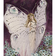 SOLD 1906 French Fantasy Butterfly Fairy Postcard with Glitter - Red Tag Sale Item