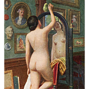 SOLD Unused French Salon des Paris Art Postcard Nude with Parrot by Chantron