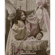 SOLD Guardian Angel Watches Over Toddler in Crib 1919 French Edwardian Postcard