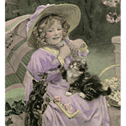 Unused French German Postcard of A.J. Elsley's Girl with Kittens