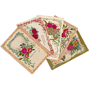 Lot of 5 Antique French Postcards of Roses with Embossed Fabric Overlays