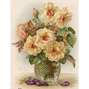 SOLD Yellow Tea Roses by Paul de Longpre 1902 Postcard to Paris