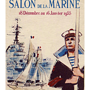 Retro 1955 Paris Maritime Museum Advertising Postcard with Sailor and Ships