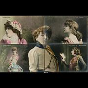 Sarah Bernhardt 10 Piece Puzzle Series Real Photo Postcards Hand Painted Unused Circa 1906