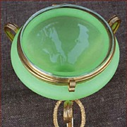 French Jade Opaline Ormolu Jewel Box Palais Royal 1850