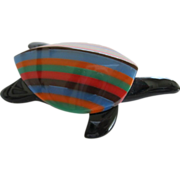 Colorful Resin Turtle Pin By French Designer