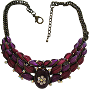 Awesome1960's Necklace With Purple & Cranberry Colored Stones & Crystals On A metal Base