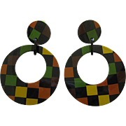 Pair Of French Designed  Checkered Resin Hoop Clip Earrings