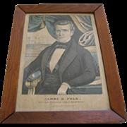 Original Framed Print By Currier & Ives Of James K Polk President Of The United States