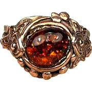Amber Ring Made in Solid Bronze by Gala Olsen-Size 8