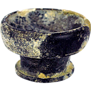 Ancient Greek Apulia South of Italy Black Glazed Footed Pottery Bowl