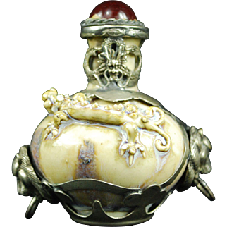 Antique Chinese porcelain metal overlaid dragon snuff bottle Imperial marks