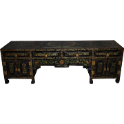 Antique 19th C. Chinese Export black & gilt lacquer low cabinet Imperial dragons