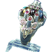 Antique Victorian era 14k gold ruby sapphire tourmaline hand made ring
