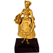 French Bronze Ormolu Lady with Flower Basket Sculpture