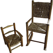 TWO Early Doll Size Chairs with Rush Seats