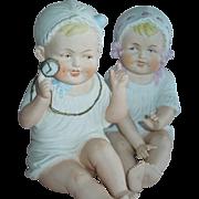 PLAYFUL Pair of Heubach German Bisque Piano Babies