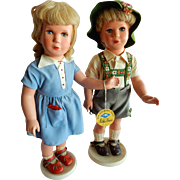 Sweet Pair of late 1950's  early 60's Kathe Kruse Turtle Mark T40 Dolls