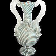 Unique Venetian MURANO Gold Mica and Turquoise Art Glass Vase