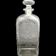 Antique c1820 Danish Glass Spirit Decanter w/Etched Bird & Tree