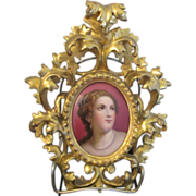 Victorian Miniature Hand Painted Portrait of a Lady by Titian