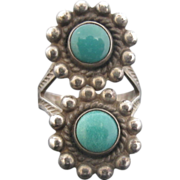 Delightful Turquoise and Sterling Silver Flower Duo Ring with Arrow Etchings