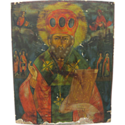 Antique Russian Religious Icon Art ~ Hand Painted Saints and Priest on Wood