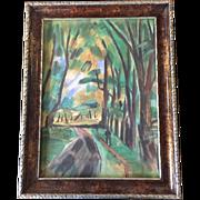 Original 1924 Fauvist Paris Landscape Watercolor Painting by Raoul Dufy