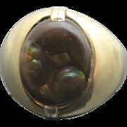 SALE Large Men's Earthy 14k Gold Fire Agate Vintage Ring
