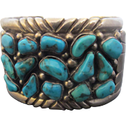 Signed GF Native American Chunky Sterling Silver Turquoise Cluster Cuff Bracelet