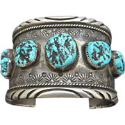 Heavy Sterling Silver Native American Chunky Turquoise Cuff Bracelet Signed SR