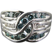 SALE Blue and White Diamond Ring in 14k White Gold