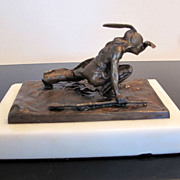 Antique Bronze Native American with Rifle Sculpture by Carl Kauba 1865-1922