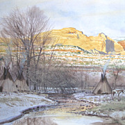 Yellow Sandstone Mixed Media Native American Art by John Jarvis