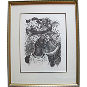 SOLD Delphina Signed and Framed Lithograph by Agnes Tait - Stunning African Woman Holding Frui